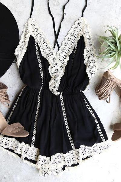 Plunge Lace Trim Open Back One Piece Romper
