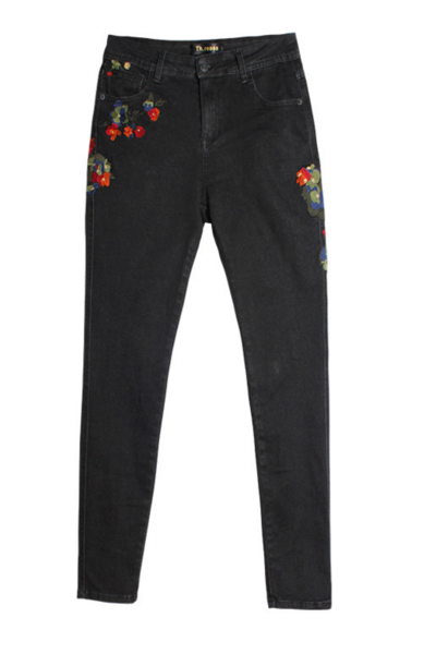 Fashion Summer Women High Waist Black Floral Embroidery Long Cowboy Pants
