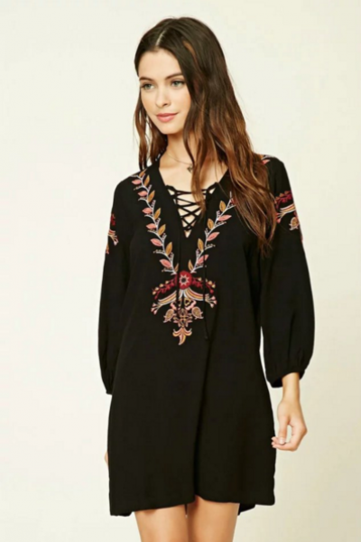 Lace-Up Embroidered Short Shift Dress with Long Sleeves