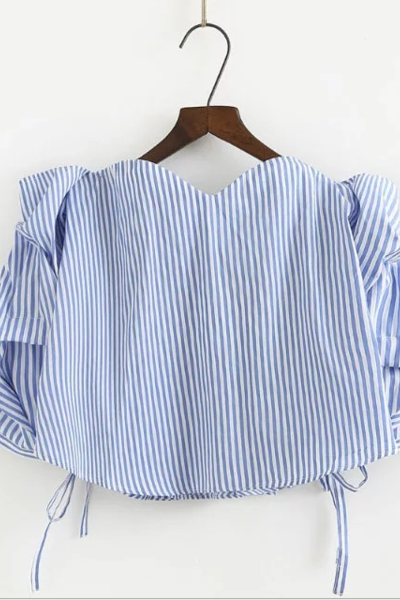 Off-The-Shoulder Sweetheart Long Cuffed Sleeves Top Featuring Tying Accent