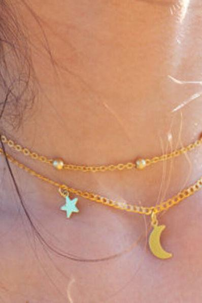 Womens Retro Moon & Stars Choker Necklace