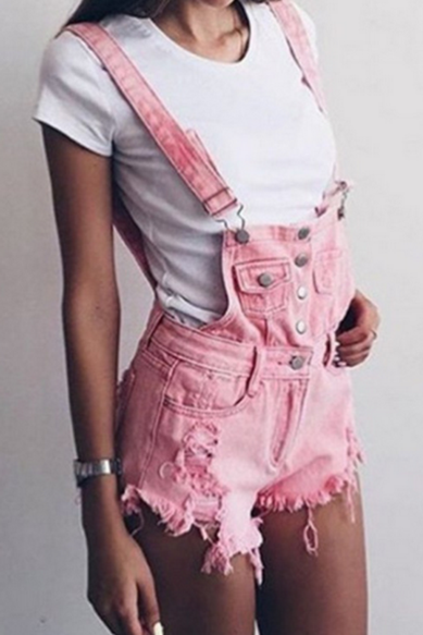 Summer Fashion Condole Belt Casual Shorts Cowboy Jumpsuit