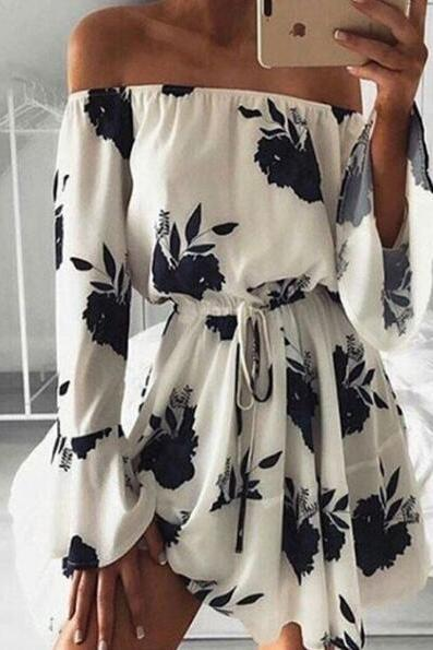 Off-Shoulder Floral Printed Flare Sleeve Romper