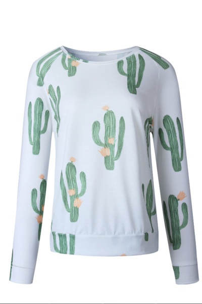 Cacti Print White Crew Neck Sweater