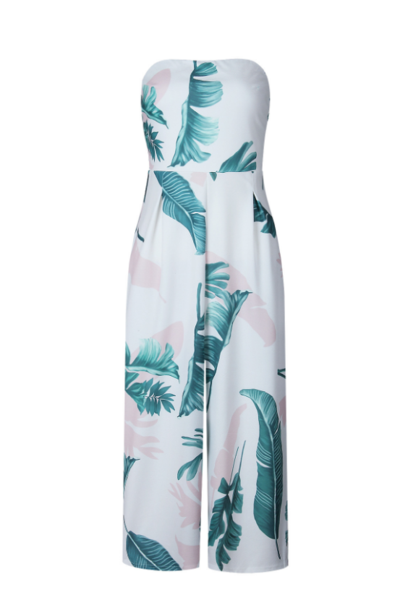 Palm Print Strapless Straight Across Midi Jumpsuit