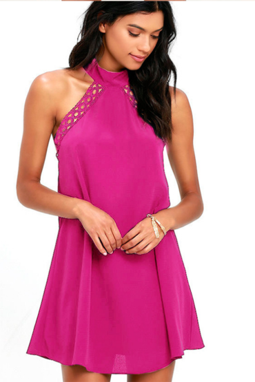 Pink Halter Neck Ribbon Cut Out Shift Dress