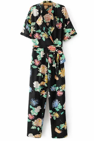 New Fashion Deep V Neck Flower Print Short Sleeve Long Pants Jumpsuit