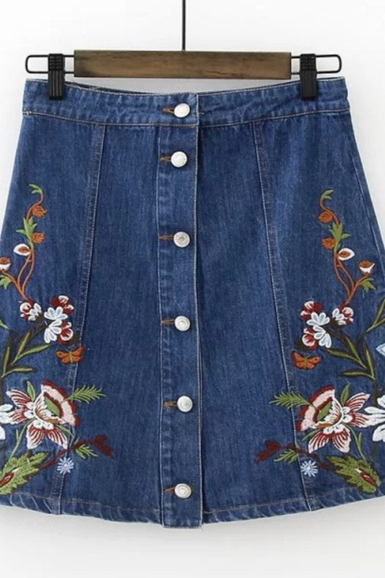 Floral Embroidered Denim Button Down Short A-Line Skirt