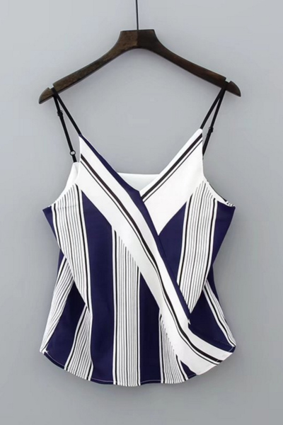 New fashion vertical stripe V-neck harness shirt vest top