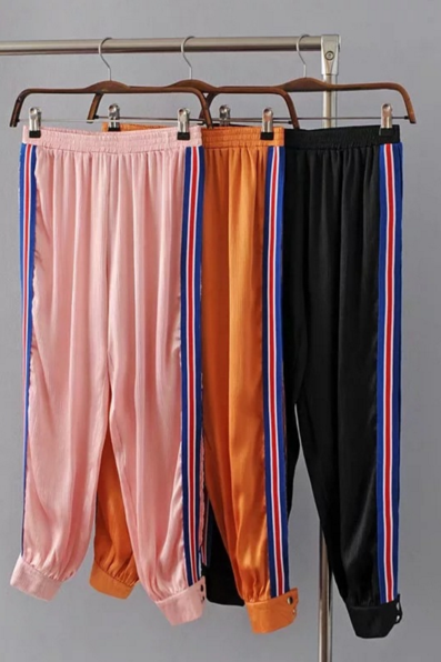 High Waist Striped Joggers, Sweatpants Featuring Side Slits