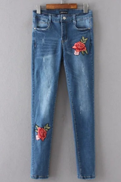 Rose Embroidered High Rise Medium Washed Skinny Jeans