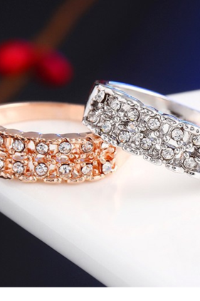 Explosive fashion zirconia electroplated simple full diamond crystal zircon ring new wedding ring allergy
