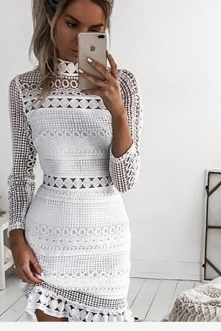 Cute white lace high collar long sleeve dress