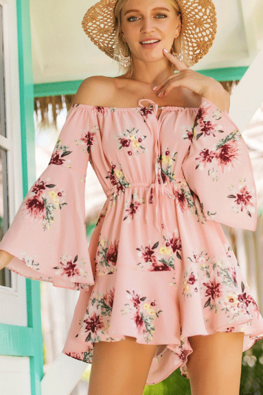 Light Pink Floral Print Off-The-Shoulder Long Flared Sleeves Romper