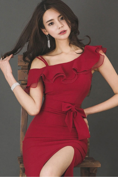 Sexy red bow off shoulder dress
