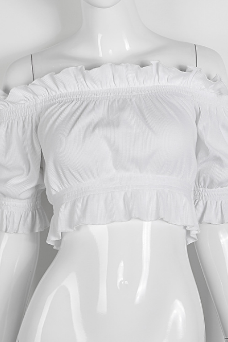 White Off the Shoulder Ruffles Hemline Short Sleeves Crop Top Blouse