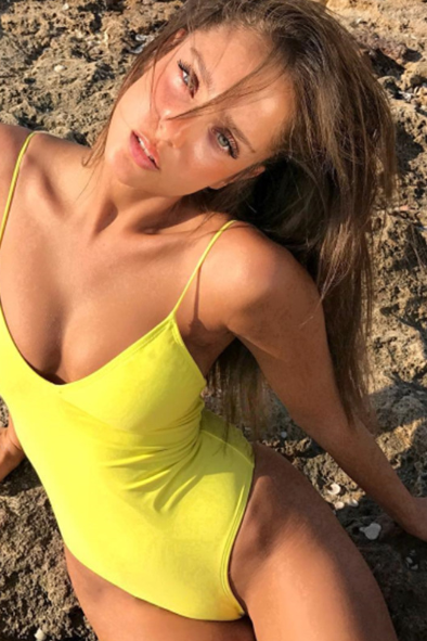 Hot style new solid one-piece swimsuit women's sexy bikini multi-color swimsuit - yellow