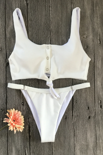 Knot bikini on the chest new women's sexy swimwear solid color special fabric with button swimwear - white