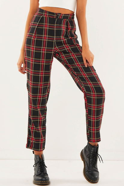 The new version women's wear loose trousers waist sweet grid in cotton ladies casual pants
