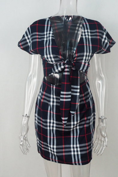 Women's v-neck check dress with bows