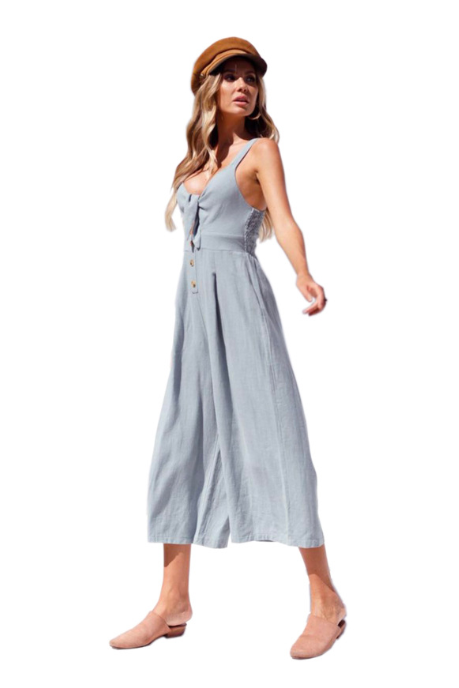 New wide leg 7 minutes pants bowknot shows back chiffon condole belt jumpsuit