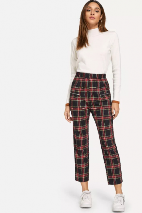 New women's loose-fitting trousers cotton midrib sweet plaid ladies casual pants nine points pants
