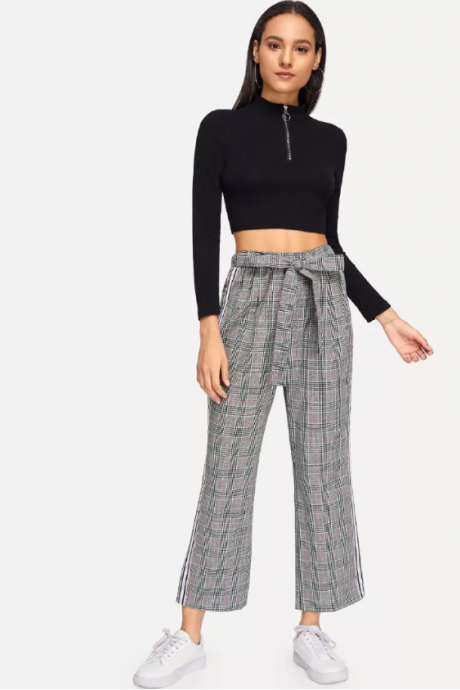 New style of plaid pants restoring ancient ways tall waist small leg pants is loose and recreational flank stripe 9 minutes pants
