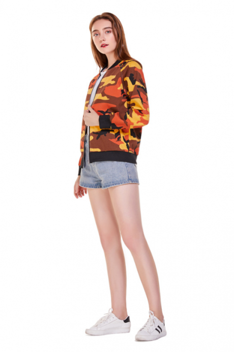 Women's wear is versatile with loose cuffs camouflage long sleeves slim baseball jacket