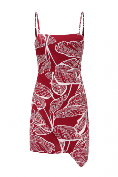 Women's bow print halter dress with open back
