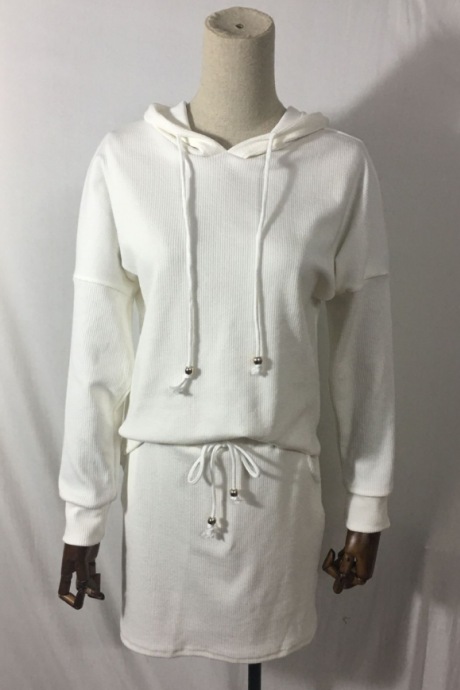 New fashion hooded solid color skirt suit