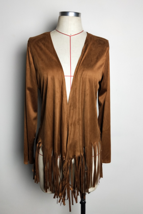 New women's fashion suede fringed cardigan coat