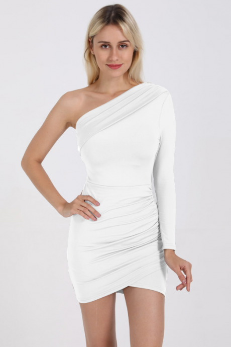 Hot style sexy long-sleeved, off-the-shoulder pleated dress
