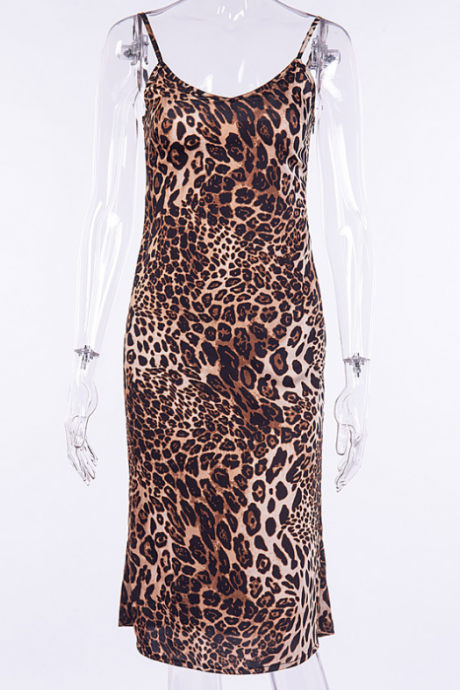Hot style tank top leopard print halter top sexy dress