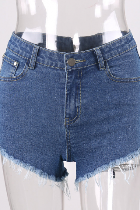 Hot style back zipper ladies fur-trimmed denim shorts with fringe sexy wide-leg pants