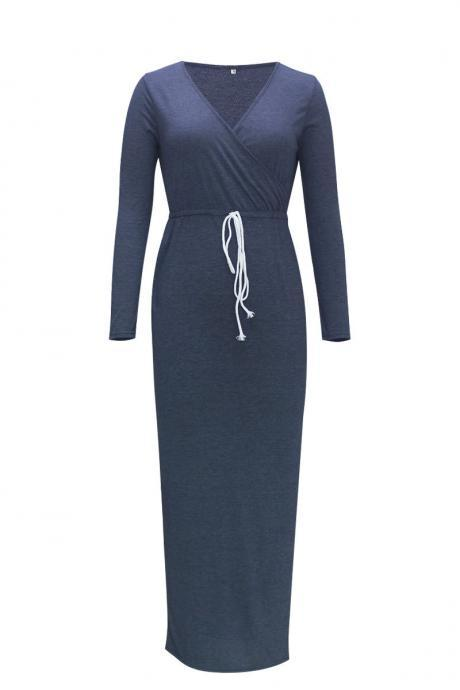 Hot long-sleeved V-neck waist split pencil dress