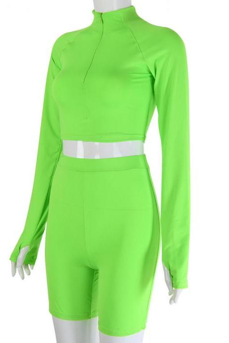 New women's fashion fluorescent color slim slimming casual suit