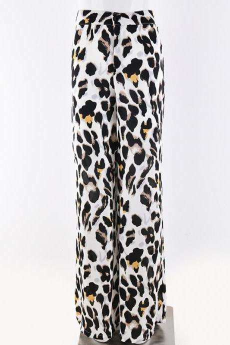 Fashion wild sexy high waist loose leopard wide leg pants