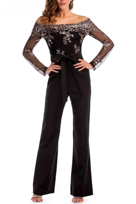 Explosion models collar long sleeve sequins black loose jumpsuit with belt