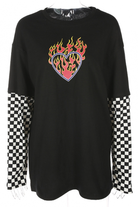 2019 explosion style wind flame print checkerboard long sleeve long T-shirt