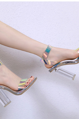 Fashion high heel square with sandals magic color crystal sexy women's shoes