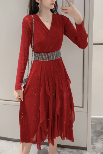 New net red early autumn women's temperament V-neck long-sleeved waist slimming long retro dress wine red