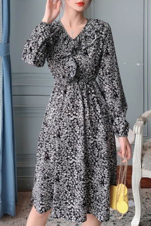 Autumn new chiffon waist floral v-neck mid-length dress autumn and winter base skirt Black