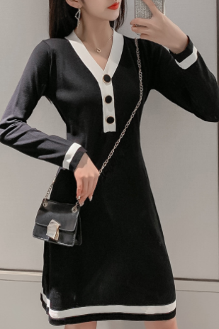 Autumn and winter new women's sweater long-sleeved V-neck base mid-length knitted dress Black