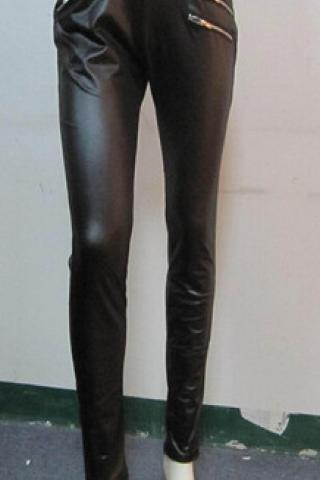 HOT ZIP CUTE PU PANTS