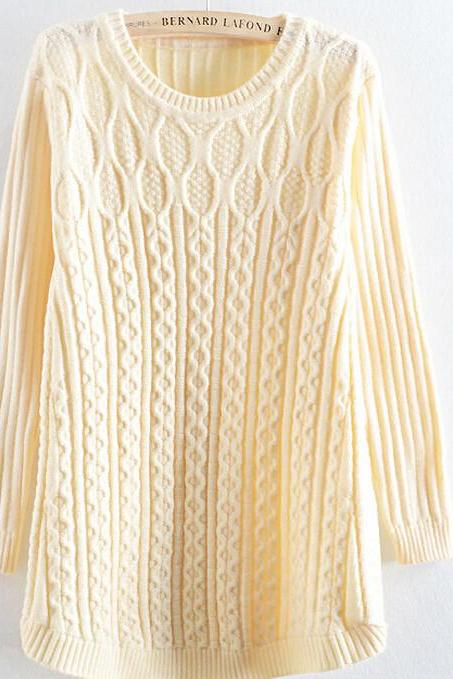 FASHION PURE COLOR TWIST SWEATER