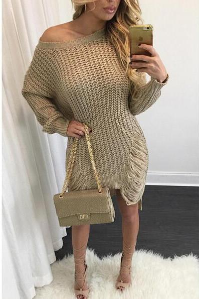 Dew shoulder loose wool hole irregular pullovers knitwear dress