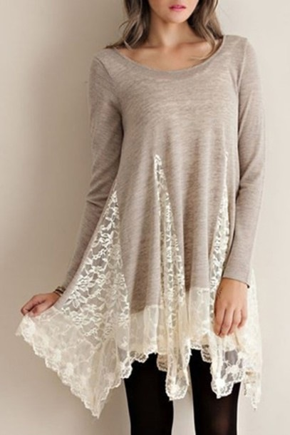 HOT LACE CUTE TOP SHIRT DRESS