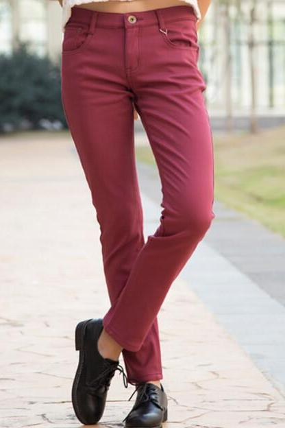 FASHION HOT RED JEANS WARM AND SHOW BODY