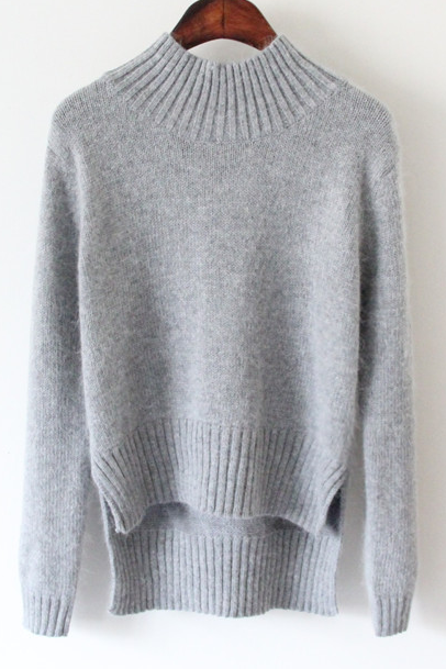 Knitted Mock Neck Sweater Featuring High Low Hem and Slits