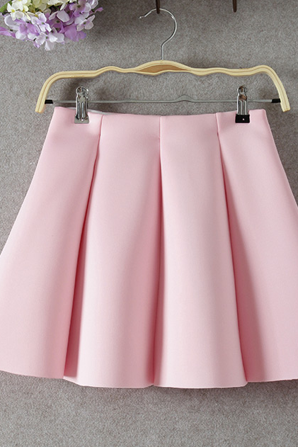 Pink High Rise Short Ruffled Skater Skirt